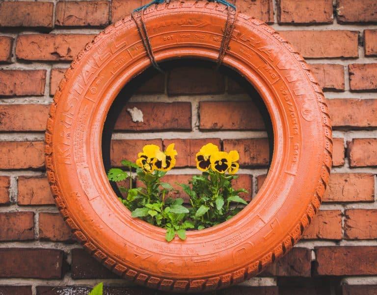 Reifen an Wand mit Blumen
