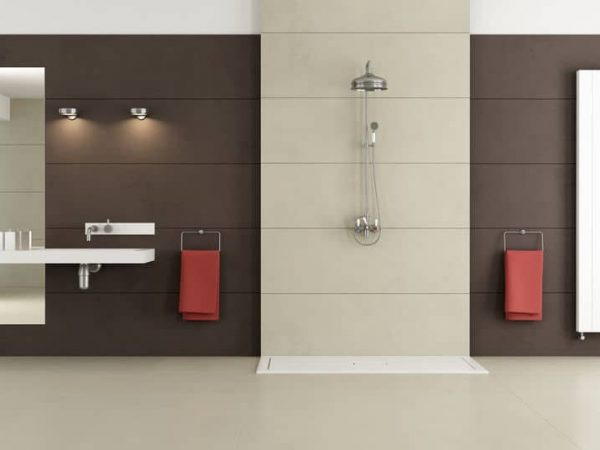 Minimalist bathroom with shower and washbasin – 3D Rendering