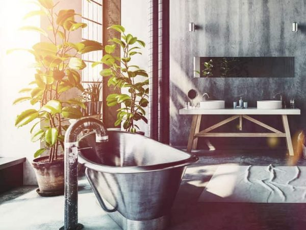 Hipster bathroom in a converted industrial loft with a vintage style roll top metal bathtub and simple vanities on a grey grunge wall with pipe work and windows letting in daylight , 3d render