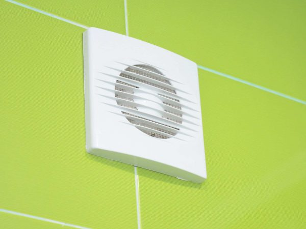 Close up on Bath vent fan. Bathroom ventilation system.