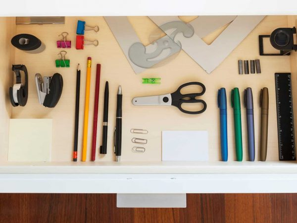 drawer with tools and accessories for drawing and office
