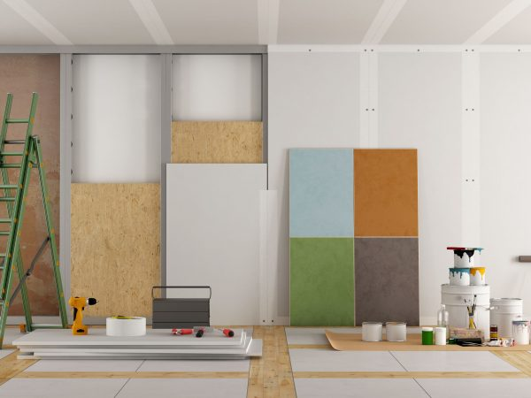 architectural restoration of an old room and selection of the color swatch – 3d rendering
