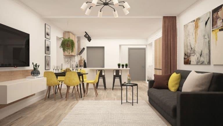 Küche und Wohnzimmer mit Abtrennung einer Gardinenstange