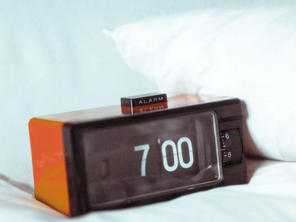 vintage retro alarm clock in the bedroom