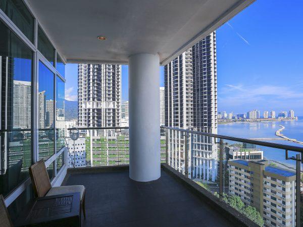 Condominium balcony with sea view from skyscraper building – Penang, Malaysia