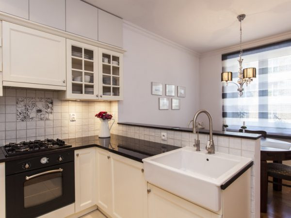 New stylish kitchen with small dining room