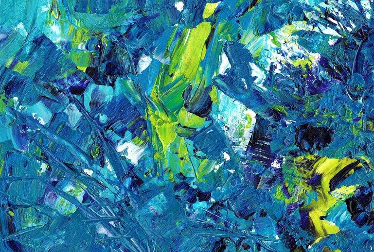 Ein Acrylbild mit der dominierenden Farbe Blau.