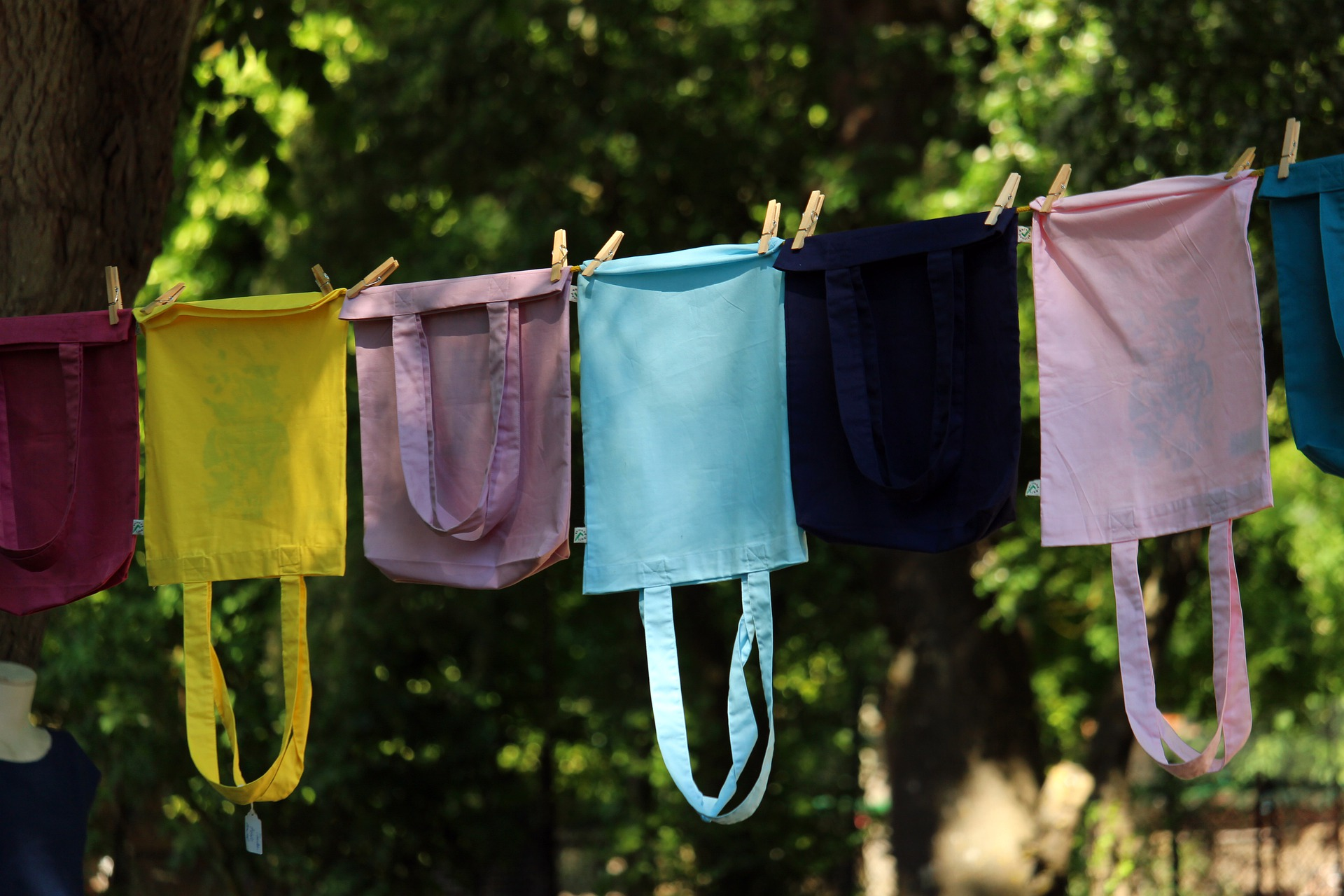 beutel an der Wäscheleine