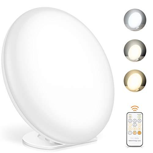 Tageslichtlampe, Lichttherapielampe mit Memoryfunktion, 3 Lichtfarben und 5 einstellbare Lichtintensität, UV-freie Vollspektrumlampe (378 LED-Lampenperle)