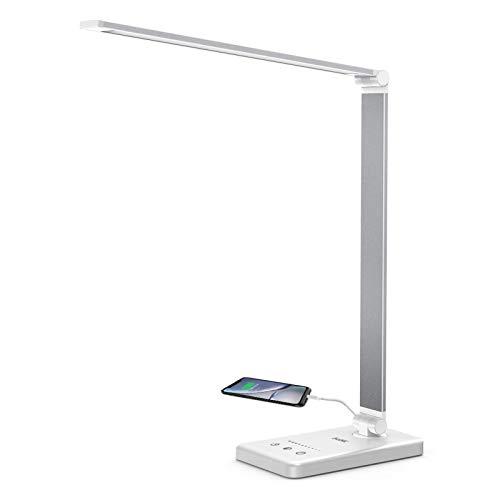 Schreibtischlampe LED dimmbar Tischleuchte Lacmisc Büro Schreibtischlampe 6W Tischlampe Bürolampe Memory-Funktion 5 Farben und 10 Helligkeitsstufen Touch-Bedienung USB-Anschluss