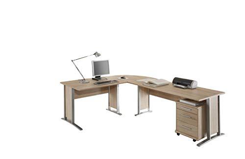OFFICE LINE Eckschreibtisch in Eiche Sonoma Optik - Moderner Bürotisch Computertisch mit großer Arbeitsfläche und Rollcontainer - 220/170 x 72 x 70 cm (B/H/T)