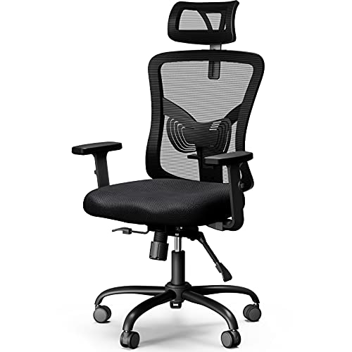 NOBLEWELL Bürostuhl ergonomisch NEU Upgrade Schreibtischstuhl mit Stummrädern, Wippfunktion & verstellbare Höhe, Kopfstütze, Armlehne, Lordosenstütze, Rückenschonend Office Chair, bis 150kg Belastbar