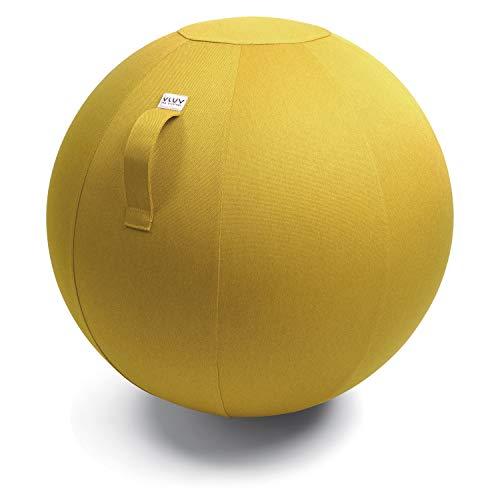 VLUV BOL LEIV Stoff-Sitzball, ergonomisches Sitzmöbel für Büro und Zuhause, Farbe: Mustard (senfgelb), Ø 60cm - 65cm, Möbelbezugsstoff, robust und formstabil, mit Tragegriff
