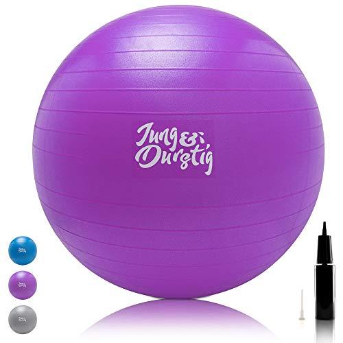 Jung & Durstig Original Gymnastikball inkl. Luftpumpe   Yoga Ball BPA-Frei   Pilates Ball bis 150 kg belastbar   Sitzball 65 cm   75 cm   Fitnessball für zu Hause   Trainingsball Lila