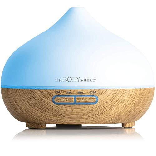 The Body Source 300ml Ultraschall Aroma Diffuser - Luftbefeuchter mit 7 Farben LED Licht und Timer - Elektrische Duftlampe für ätherische Öle - Aromatherapie für Zuhause, Büro, Spa