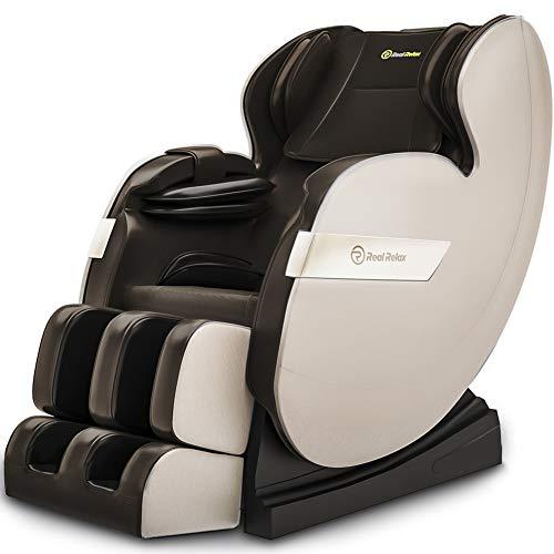 Real Relax Massagesessel, Zero-Gravity Massagestuhl Ganzkörpermassage mit Wärmefunktion Bluetooth Airbags Fussrollen Massage Relaxsessel für Hause und Büro, Favor-03 PLUS(Braun)