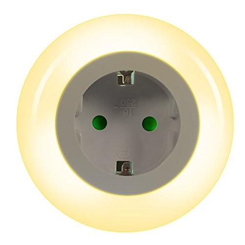 Emotionlite LED Steckdose Nachtlicht mit Dämmerungssensor Nachtlampe Kinder Schützen Orientierungslicht Multi-Farben (Grün, Blau, Warmweiß),1 Stück