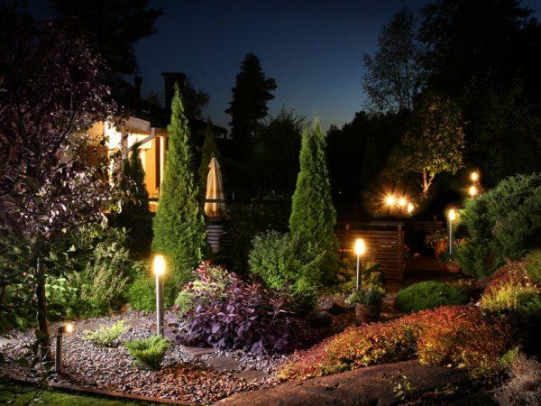 Home garden illumination autumn evening lights patio