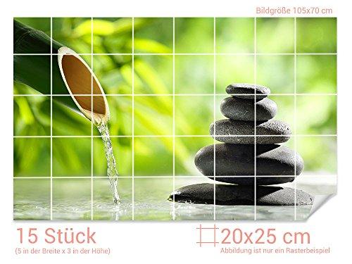 GRAZDesign Fliesenaufkleber Steine - Bambus für Kacheln Bad-Fliesen mit Fliesenbildern überkleben (Fliesenmaß: 20x25cm (BxH)//Bild: 105x70cm (BxH))