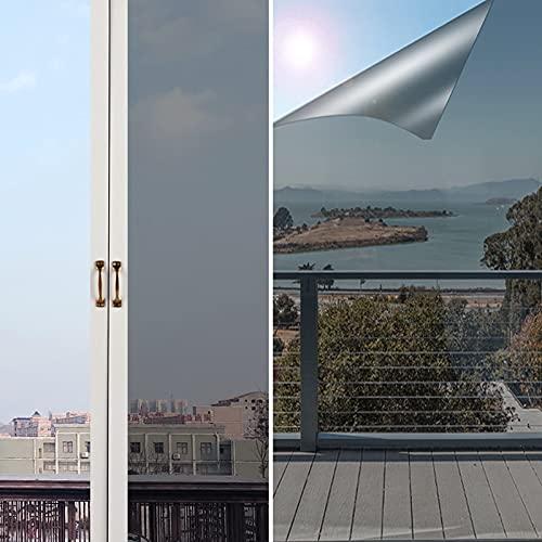 Spiegelfolie Selbstklebend 90*200cm,NEEMOSI Fensterfolie Innen Fenster Sonnenschutzfolie für Wärmeisolierung, 99% UV-Schutz und Sichtschutz Silber. (90*200)