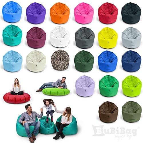 BubiBag Sitzsack L | 2-in-1 Sitzkissen mit Füllung Bodenkissen Kissen Sessel BeanBag (100cm Durchmesser, türkis)