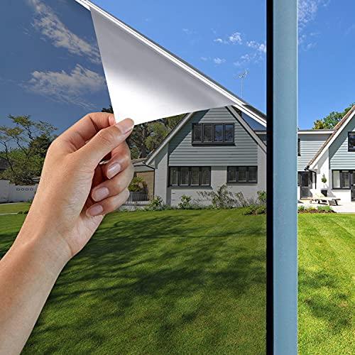 GodUp Spiegelfolie Wärmeisolierung Sonnenschutzfolie Fensterfolie 99%UV-Schutz Fenster innen selbstklebend für Büro und Haus sliber (Silber2, 40x200 cm)