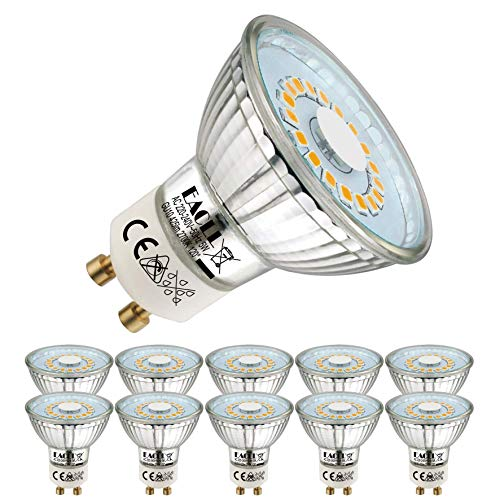 EACLL GU10 LED Warmweiss 5W Ersetzt 50W Halogen Leuchtmittel, 10er-Pack. 2700K 425 Lumen Birnen, AC 230V Flimmerfrei Strahler, Abstrahlwinkel 120 ° Spot, Nicht Dimmbar Reflektorlampen