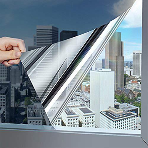 KINLO Wärmeisolierung Sonnenschutzfolie Reflektierende Fensterfolie (Silber-Weiß 75x300cm) Selbstklebend Spiegelfolie Sichtschutzfolie Verdunkelungsfolie 97% UV-Schutz für Schlafzimmer/Küchen/Büros