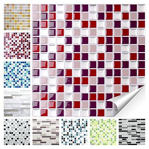 Wandora 1 Set Fliesenaufkleber 25,3 x 25,3 cm rot beige Silber Design 22 I 3D Mosaik Fliesenfolie Küche Bad Aufkleber W1536