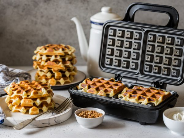 Waffles Being Baked in the Waffle Maker