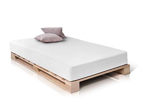 PALETTI Palettenbett Massivholzbett Holzbett Bett aus Paletten mit 11 Leisten, Palettenmöbel, 120 x 200 cm, Fichte Natur