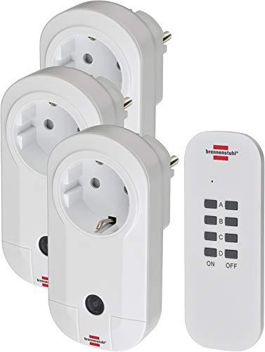 Brennenstuhl Funkschalt-Set RC CE1 3001 , 3er Funksteckdosen Set (mit Handsender und erhöhtem Berührungsschutz) weiß