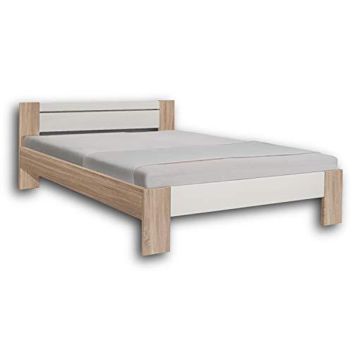 Stella Trading Vega Stilvolles Futonbett 140 x 200 cm - Komfortables Jugendzimmer Doppelbett in Eiche Sonoma Optik, weiß - 145 x 61 x 204 cm (B/H/T)