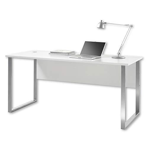 Stella Trading OFFICE LUX Schreibtisch inkl. Kabeldurchführung, grau - Bürotisch Computertisch mit großer Arbeitsfläche - Modernes Büromöbel Komplettset - 170 x 76 x 73 cm (B/H/T)