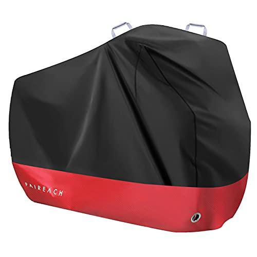 Abdeckplane Fahrrad Wasserdicht, Fahrradabdeckung 210D Premium-Stoff, Fahrradgarage Schutz vor Staub Regen Schnee UV, Schutzhülle mit Schlosslöcher & Beutel für alle Fahrradtypen, Schwarz & Rot