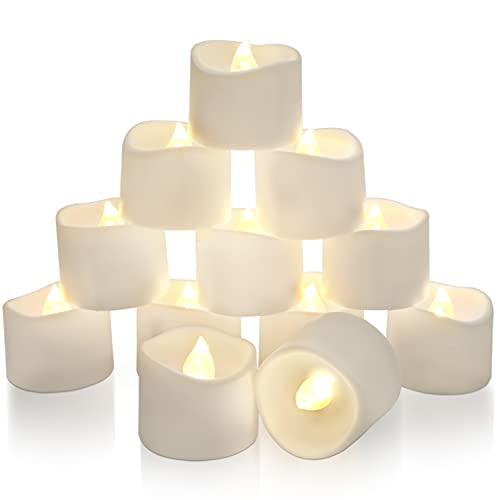 Homemory 12 led teelichter mit Timer, elektrische flackernde batteriebetriebene Kerzen, 6 Stunden an und 18 Stunden aus, 3.2x3.6 cm [Plastik, Warmweiß,]