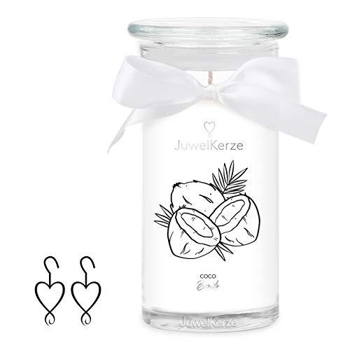 JuwelKerze Coco Bonito große Duftkerze (Kokosnuß, 1020g, 95-125 Std. Brenndauer) in Weiß mit 925er Sterling Silber Schmuck, Ohrringe