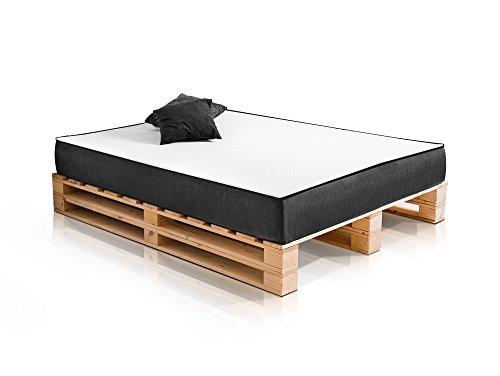 PALETTI Massivholzbett Duo Holzbett Palettenbett Bett aus Paletten mit 11 Leisten, Palettenmöbel Made in Germany, 180 x 200 cm, Fichte Natur