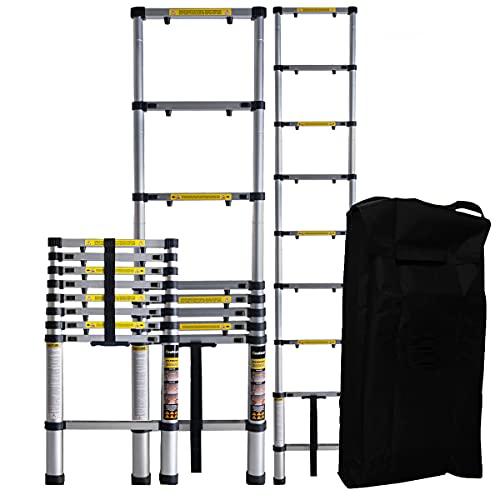 𝐂𝐑𝐀𝐅𝐓𝐅𝐔𝐋𝐋 Aluminium Teleskopleiter inkl. Tragetasche - 𝟑 𝐉𝐀𝐇𝐑𝐄 𝐆𝐀𝐑𝐀𝐍𝐓𝐈𝐄 - Mehrzweckleiter - Stehleiter - Aluminiumleiter - Leiter - Aluleiter (2.9 Meter)