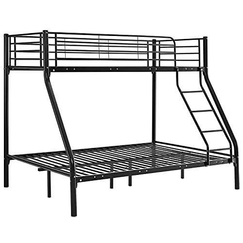ArtLife Hochbett Jonas – Etagenbett 90/140 x 190 cm mit Leiter & Rausfallschutz für 3 Personen bis max. 150/300 kg – Stockbett aus Metall schwarz