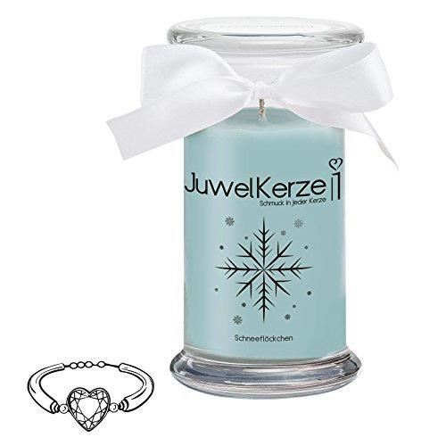 JuwelKerze Snowflakes große Duftkerze (Zucker, 1020g, 95-125 Std. Brenndauer) in Blau mit 925er Sterling Silber Schmuck, Armband