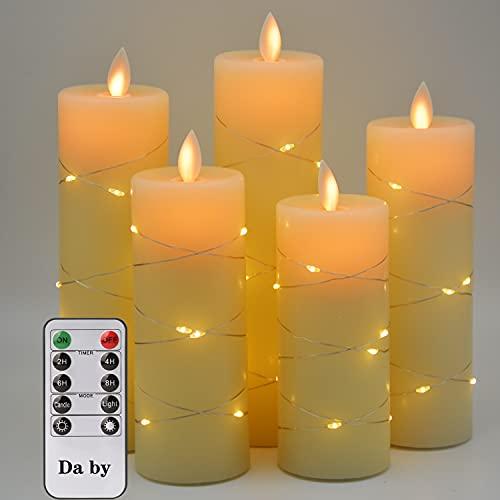 LED Kerzen, mit eingebetteten Lichterketten, Da by 5-LED-Kerzen, mit 10-Tasten-Fernbedienung, 24-Stunden-Timer-Funktion, tanzender Flamme, echtem Wachs, batteriebetrieben.