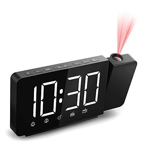 Quntis Radiowecker mit Projektion, 7,4'' Digital Projektionswecker Dual-Alarm und Snooze,FM Radio, 3 Display-Helligkeit (weiß),2 Projektion Helligkeit, 180° Dreh-Projektor, 360°Projektionsanzeige