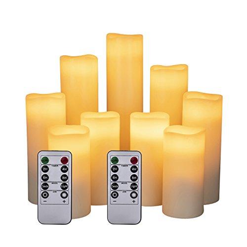LED Kerzen Set von 9 Flammenlose Kerzen Batteriebetriebene Kerzen D2.2xH 4