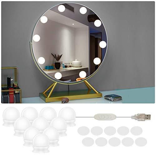 Spiegel Schminktisch Beleuchtung, LED Spiegelleuchte Spiegel Beleuchtung Schminklicht Make up Licht Dimmbar für Spiegelleuchte Schminktisch Spiegelschrank Bad (10 LED)