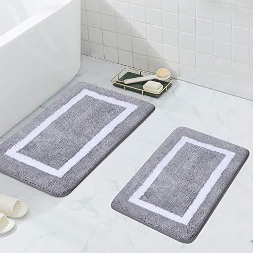 Homaxy Badezimmerteppich Set rutschfest Badematten Set 2 teilig Weiche Mikrofaser Flauschige Badteppich Badvorleger Set 2 teilig – 40 x 60 cm+ 50 x 80 cm, Grau