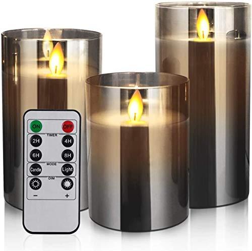 Yinuo Mirror Led Kerzen mit Timerfunktion, Led Kerzen Flackernde Flamme, Led Kerzen mit Fernbedienung, Bad Deko, Deko Wohnzimmer, Tischdeko Wohnzimmer, Größe 10/12,5/15cm Hoch, 7,5 cm Durchmesser