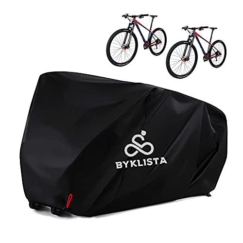 BYKLISTA NEU Fahrradabdeckung für 2 Fahrräder + eBook - Fahrradgarage Fahrradplane wasserdicht aus 210D Oxford-Gewebe - Fahrrad Abdeckplane Fahrradschutzhülle extra verschweißte Innennähte