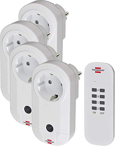 Brennenstuhl Funkschalt-Set RC CE1 4001 , 4er Funksteckdosen Set (Innenbereich, mit Handsender und erhöhtem Berührungsschutz) weiß