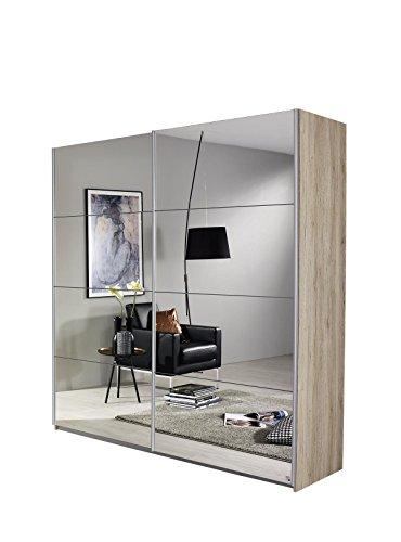 Rauch Möbel Subito Schrank Kleiderschrank Schwebetürenschrank in Eiche Sanremo hell mit Spiegel 2-türig inkl. Zubehörpaket Basic 2 Kleiderstangen, 2 Einlegeböden BxHxT 136x197x61 cm